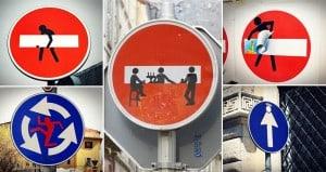 Street Artist Edits Road Signs