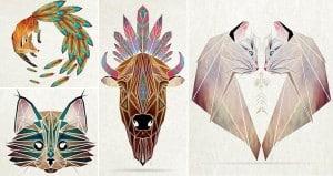 Tangram-Inspired Geometric Animal Illustrations
