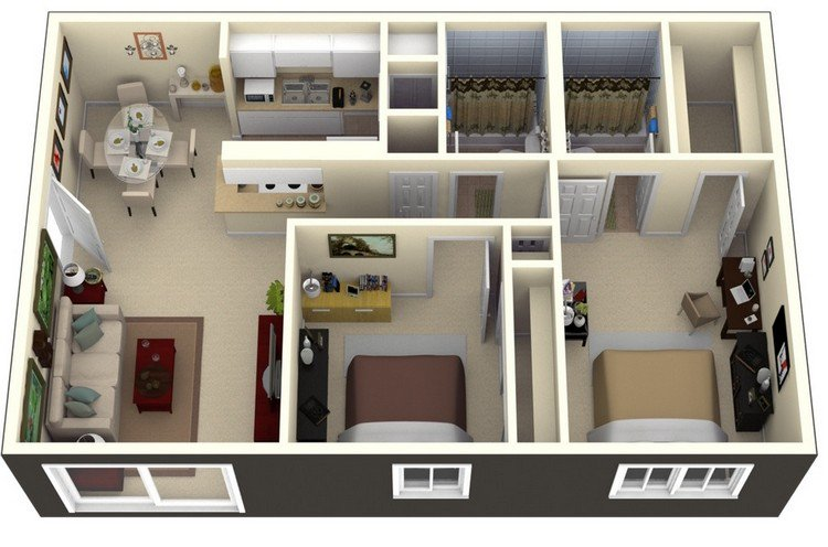 19 awesome 3d apartment plans with two bedrooms part 1 2 bedroom apartment design