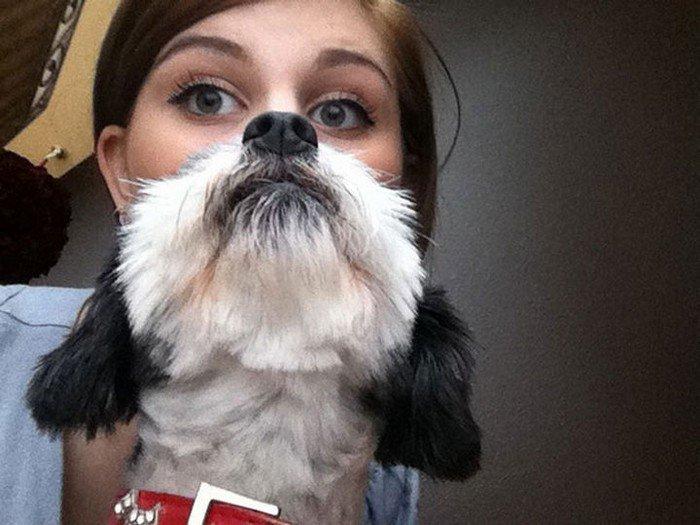 big eyes woman dog beard