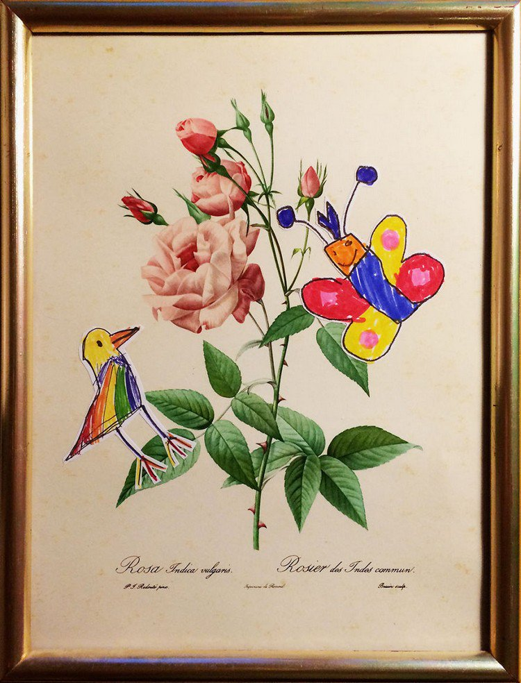 bird butterfy roses painting
