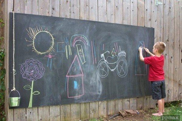 boy giant chalkboard
