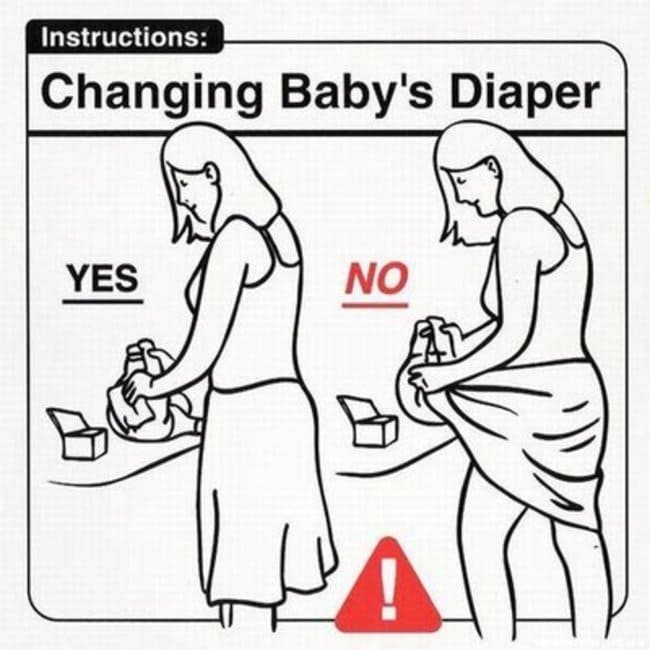 changing baby diaper