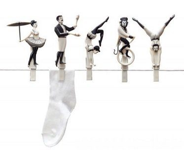 circus act clothes pegs
