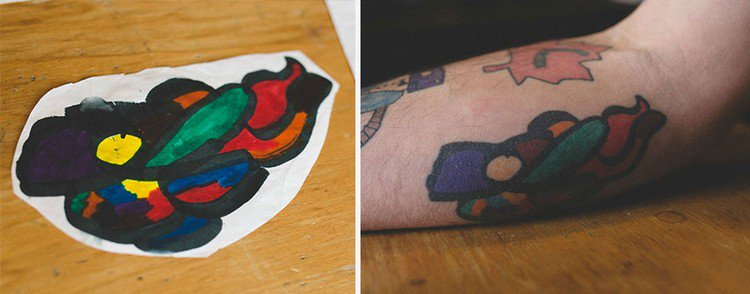 colorful drawing tattoo