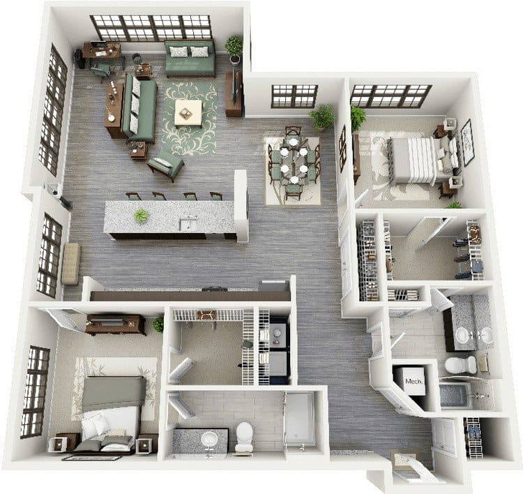 19 awesome 3d apartment plans with two bedrooms part 1 for Two bedroom apartment design