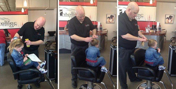 dad fixing daughter hair
