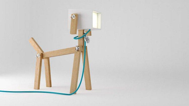 dog lamp natural wood