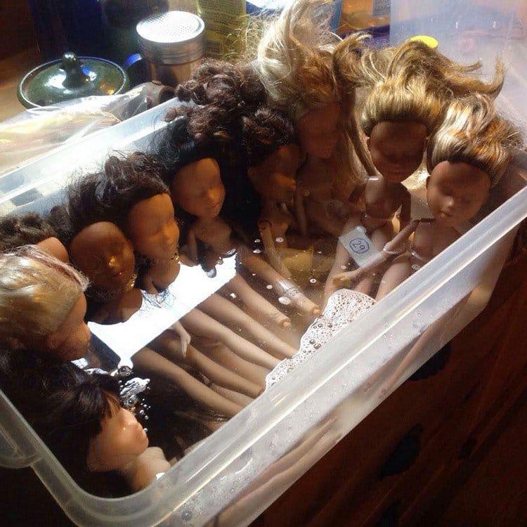dolls in water