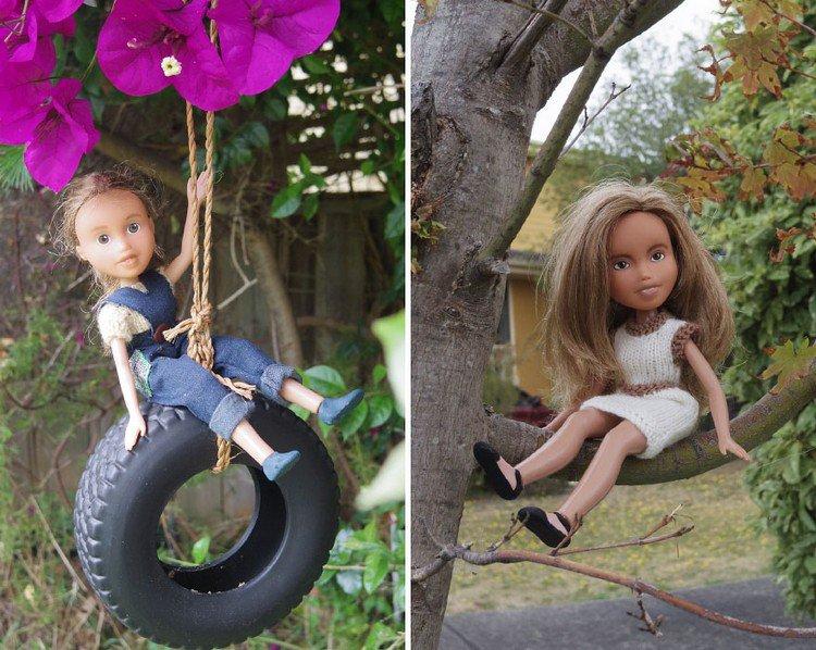dolls playing garden