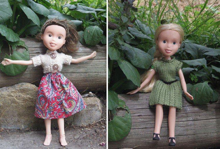 dolls posing garden