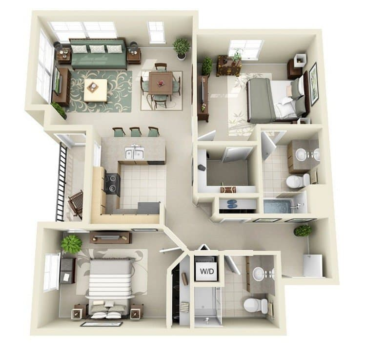 20 awesome 3d apartment plans with two bedrooms part 2 for Two bedroom apt in bed stuy area