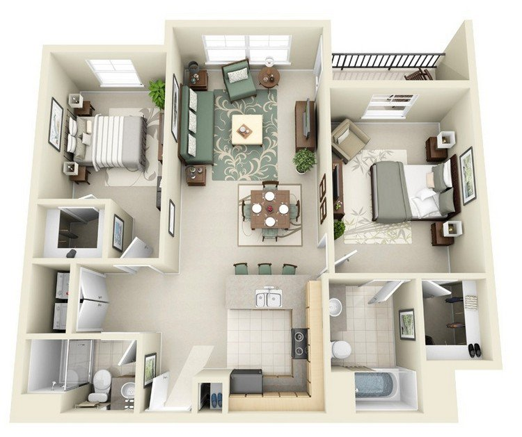 Small Bedroom Ideas Home Design: 20 Awesome 3D Apartment Plans With Two Bedrooms