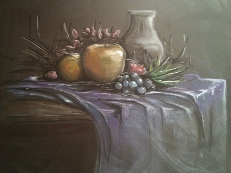 fruit chalked picture
