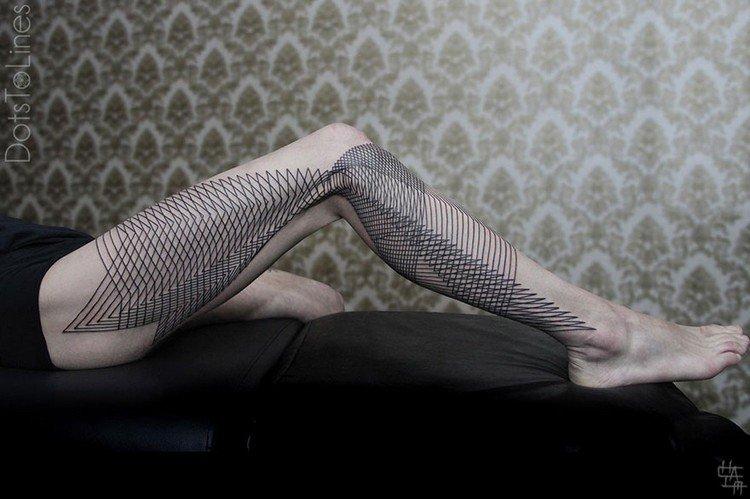 full leg geometric line tattoo