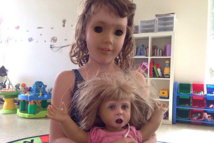 girl blond doll face swap