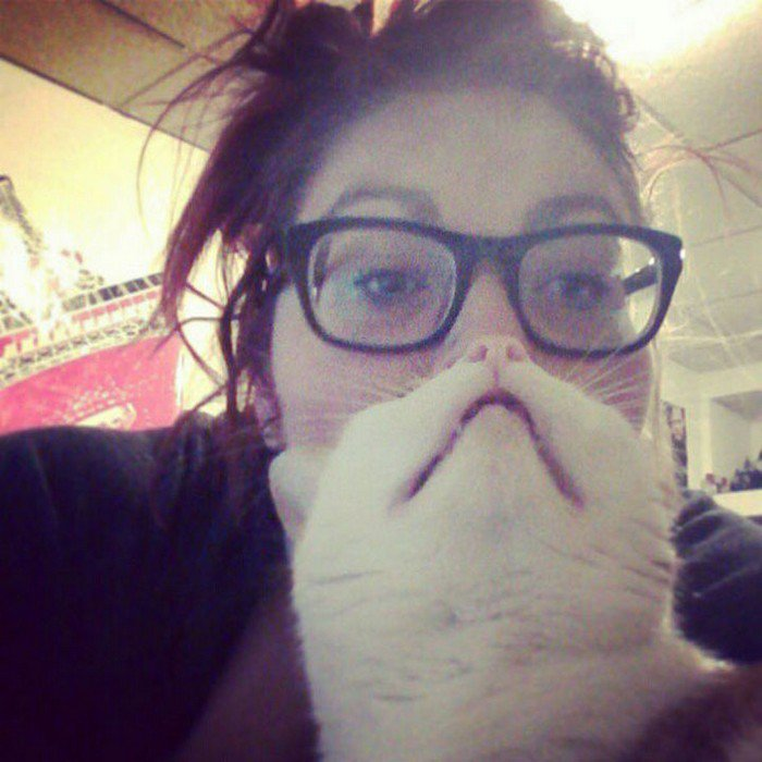 girl glasses cat beard