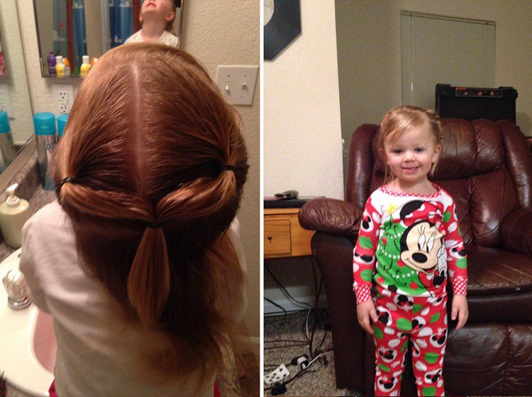 girl standing pony tails