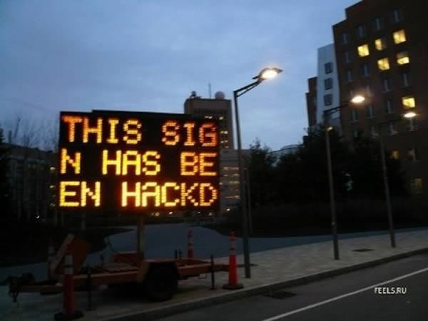 hacked signs