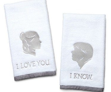 han and leia towels star wars white