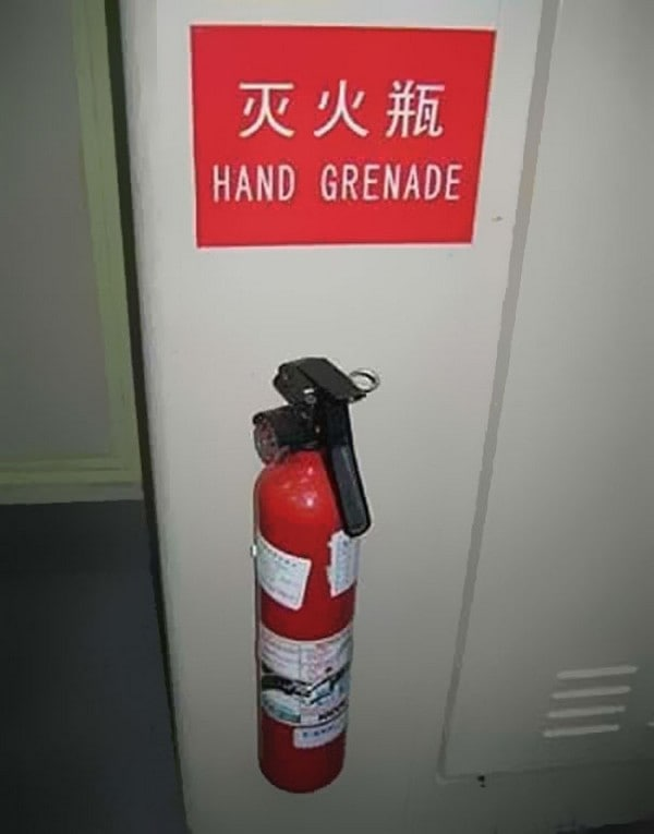 hand grenade fire extinguisher sign