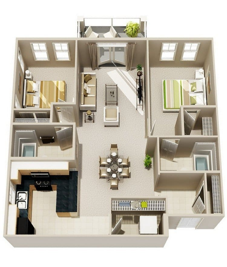 20 awesome 3d apartment plans with two bedrooms part 2 for Two bedroom apartment design