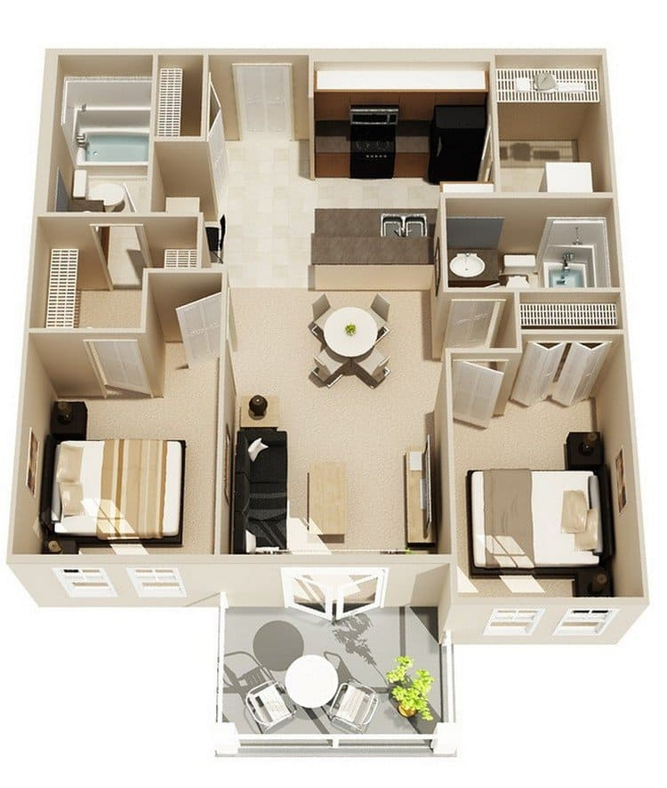 20 Awesome 3d Apartment Plans With Two Bedrooms Part 2