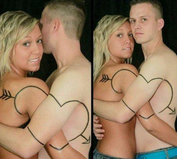 heart arrow tattoo couple