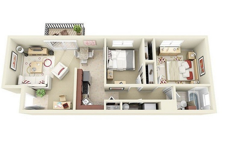 19 awesome 3d apartment plans with two bedrooms part 1 for Apartment 3d