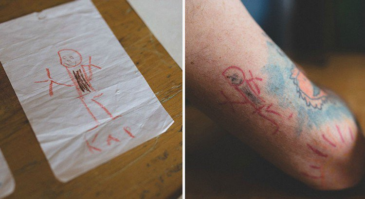 this dad has been having his son u0026 39 s drawings tattooed on
