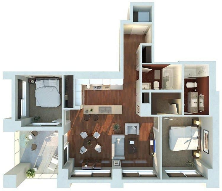 19 Awesome 3D Apartment Plans With Two Bedrooms - Part 1