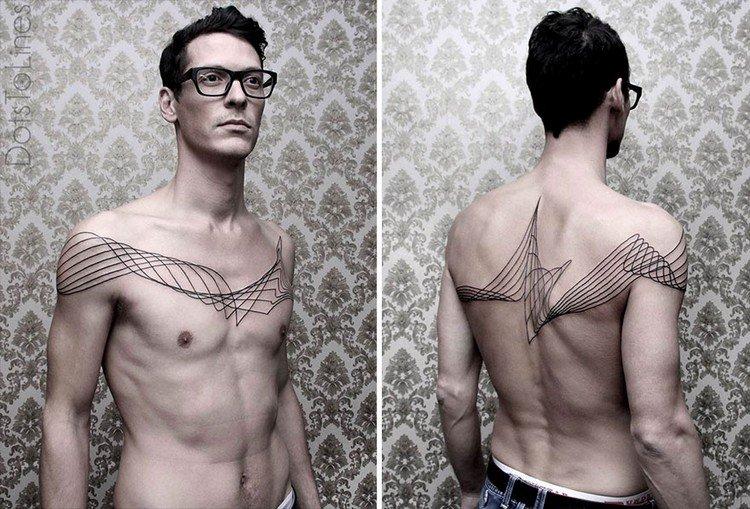 man glassess chest back tattoos