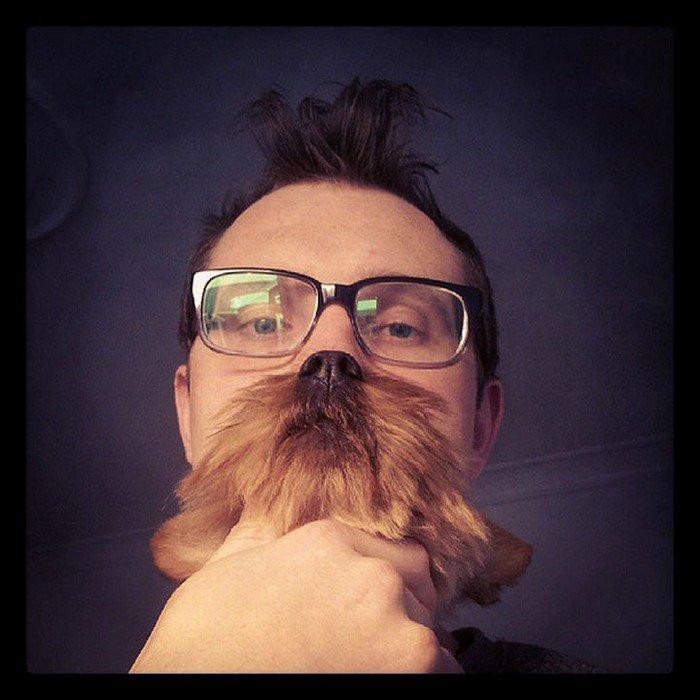 man quiff glasses dog beard