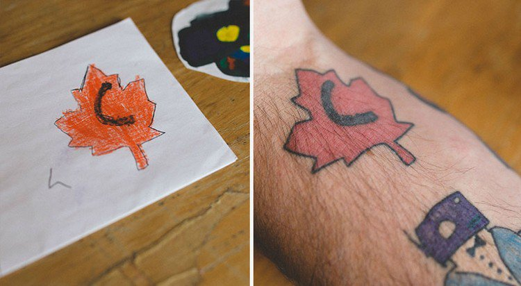 maple leaf drawing tattoo