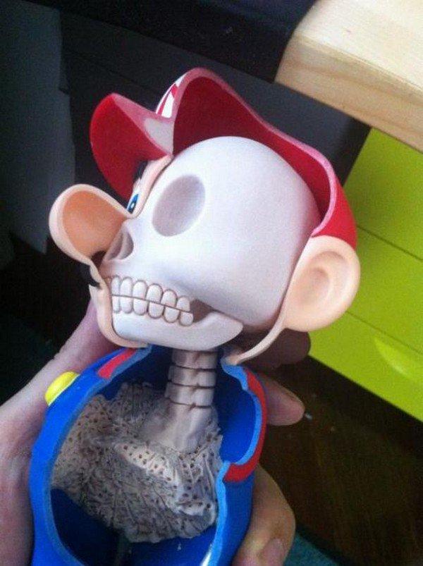 mario skull close up