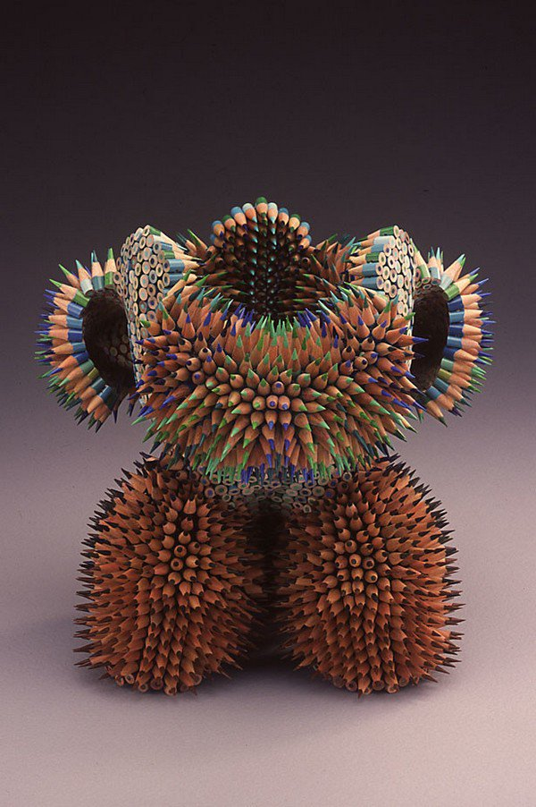 multicolored pencil sculpture