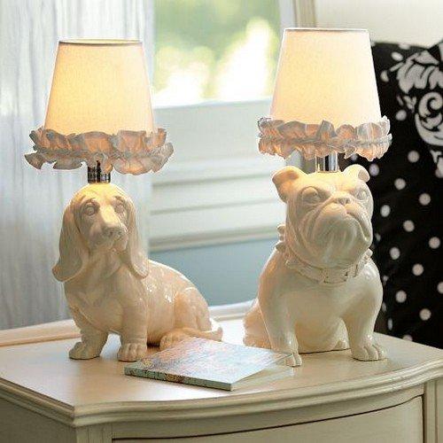 pair dog lamps