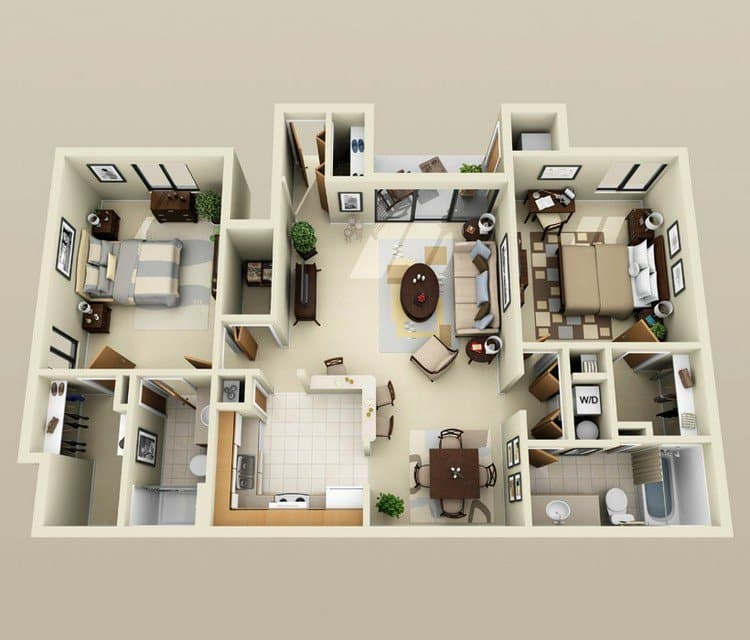 Paragon Apartments: 19 Awesome 3D Apartment Plans With Two Bedrooms