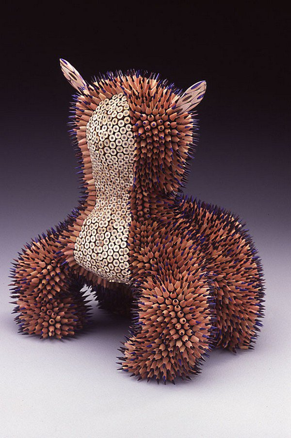 purple pencil sculpture