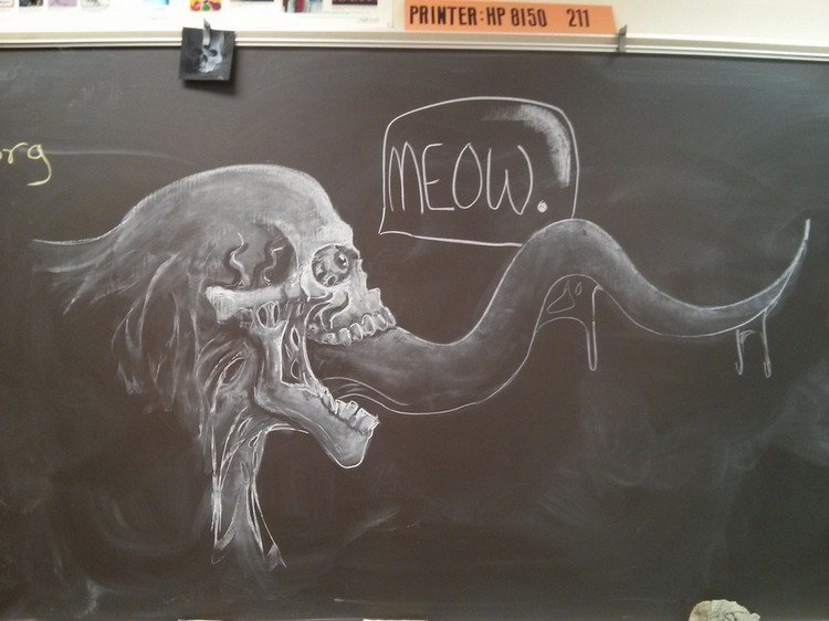 skull tentacle chalked picture