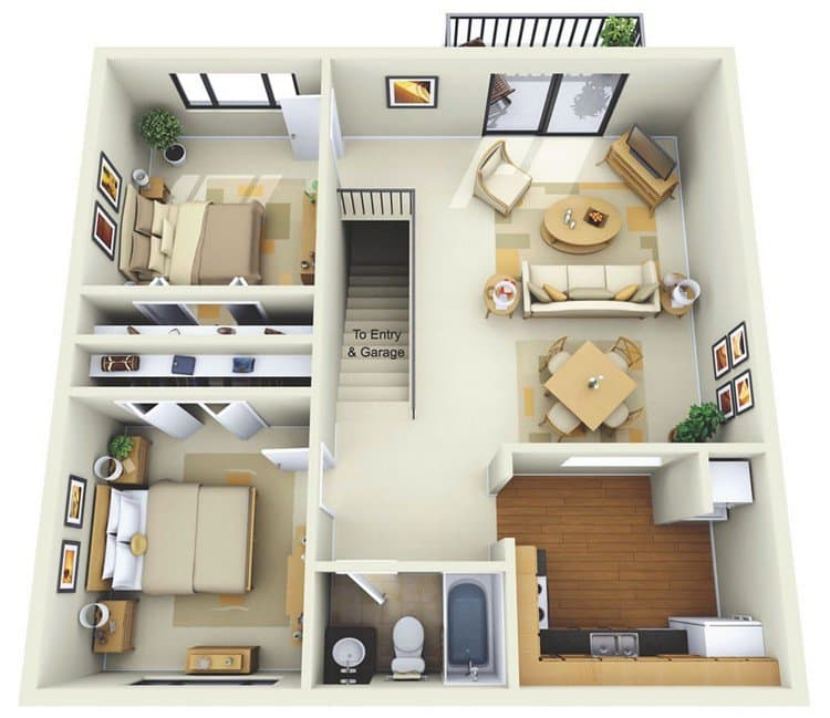 Quail Chase Apartments: 19 Awesome 3D Apartment Plans With Two Bedrooms