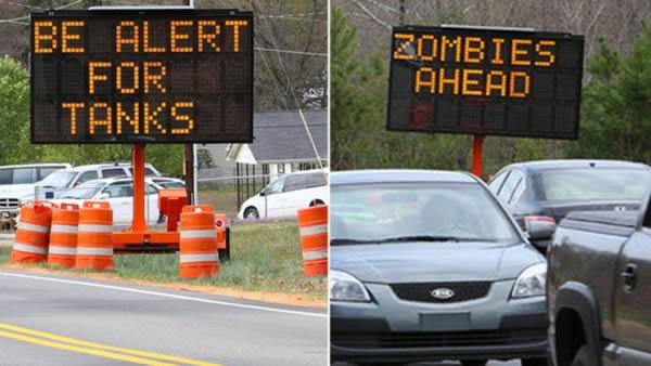 tanks zombies signs