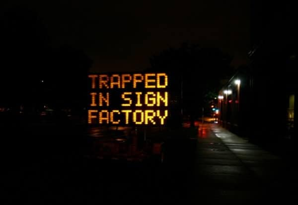 trapped sign