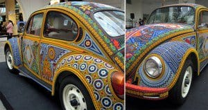 vw beetle covered in glass beads