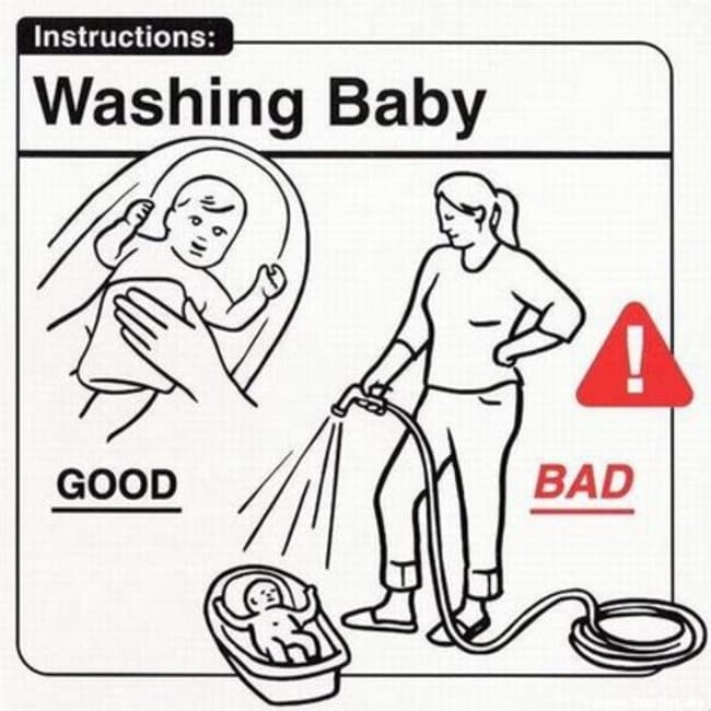 washing baby