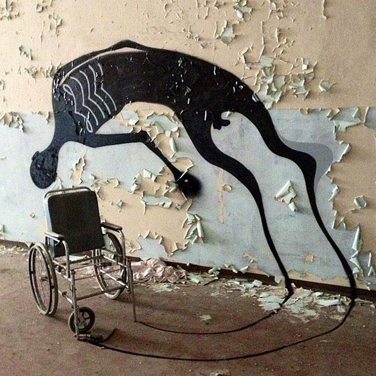 wheelchair wall shadow bending
