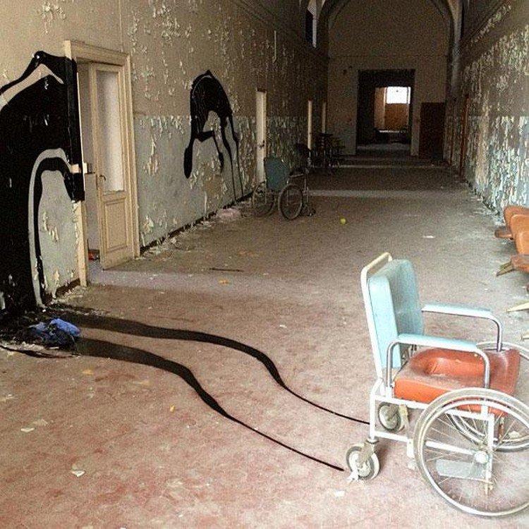 wheelchair wall shadow