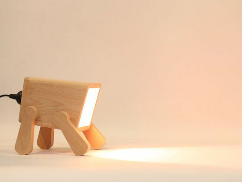 wooden headless dog lamp