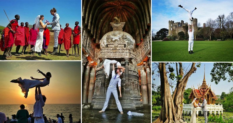 acrobat couple tie the knot in 38 different destinations