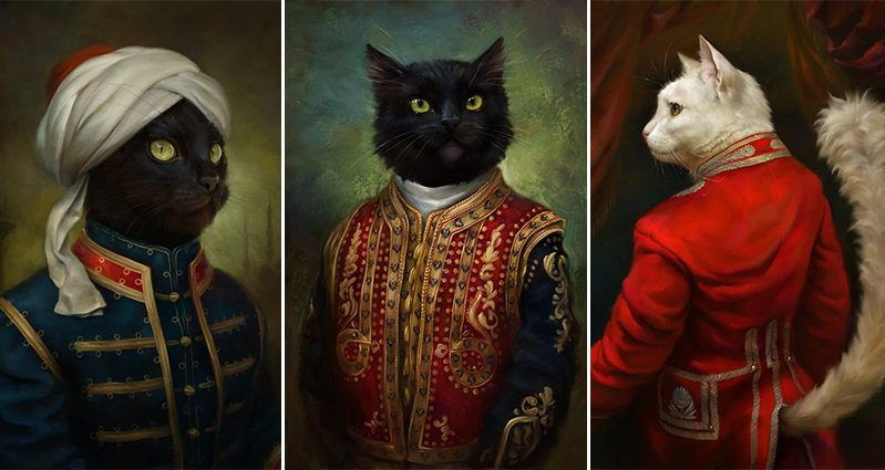 These Cats Could Be Mistaken For Royalty In These Fancy Cat Oil Paintings